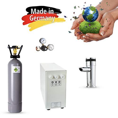 Sprudel aus dem Wasserhahn! Untertisch-Trinkwassersystem - Trinkwassersprudler Sprudel-Lok - NEUHEIT! inkl. 1-Weg-Zusatzarmatur MORA + CO2 Eigentumsflasche 2 kg und Anschluss-Set. Made in Germany