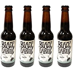 Mouse Hill - Pack de 4 botellas de Cerveza Artesana Black Garlic, con Ajo Negro. Premio Silver en BARCELONA BEER CHALLENGE 2016