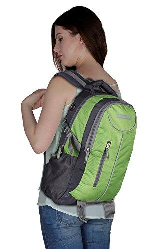 Suntop Polyester 26 Litres Medium (Grey & Green Checks Casual Backpack