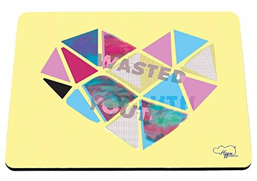 80 ' S Tee (hippowarehouse Wasted Youth Love Herz gedruckt Mauspad Zubehör Schwarz Gummi Boden 240mm x 190mm x 60mm, gelb, Einheitsgröße)