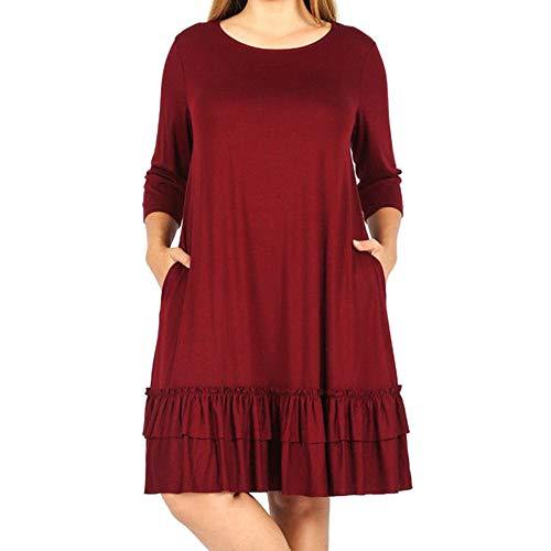 Oyedens Kleider Schwarz Einfarbiges, GroßEs, KurzäRmliges Kleid Mit Gestuften ÄRmeln Mode Frauen Solid Plus GrößE DREI Viertel Cascading Ruffle Knielanges Kleid
