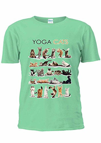 Yoga Cats Kitten Kitty Funny Gym Cute T-Shirt Unisex Women Ladies Top uomo