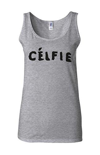 Celfie Selfie Funny Picture Novelty White Femme Women Tricot de Corps Tank Top Vest Gris Sportif