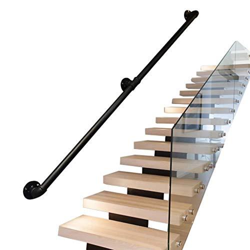 30cm-600cm Geländer, Industrie Stil Schmiedeeisen Schwarz Rohr Treppenhandlauf, Start Gegen Die Wand Indoor Loft Älteren Geländer Handläufe Korridor Stützstangen (Size : 220cm)