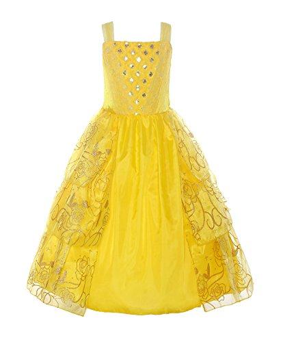ReliBeauty Mädchen Kleider Paillette Prinzessin Kleid Einfarbig Ärmellos Rose Muster Blumen Kleid Cosplay Kostüme, Gelb, 116-122(Etikett 120)