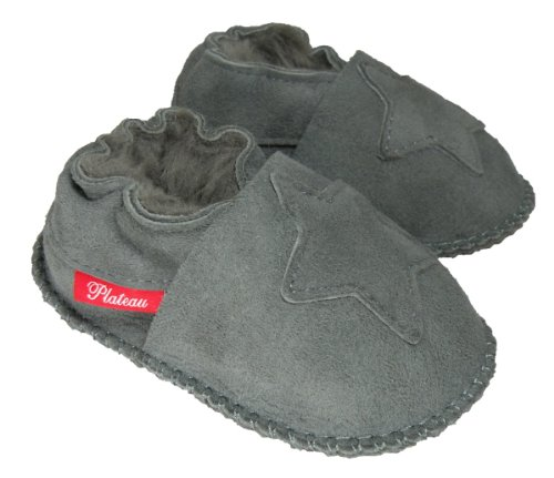 Plateau Tibet - VERITABLE laine d'agneau Bottines Chaussures Chaussons en cuir souple doublure pour bébé garçon fille enfant - 6 COULEURS - Étoile Gris (Gray)