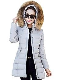 Mujer Invierno Casual Más grueso Sudadera con Capucha Chaqueta de Capa Jacket Parka Largo Abrigo Gris M