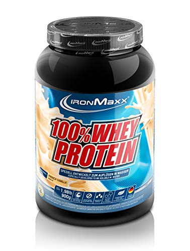 IronMaxx 100% Whey Proteinpulver - Vanille Eiweißpulver Whey für Proteinshake - Wasserlösliches Proteinpulver mit French Vanilla Geschmack - 1 x 900 g Dose