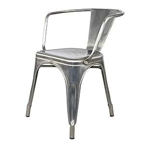 Boston - Chaise métallique avec bras, couleur gris métal, de style Tolix, 52 x 52 x H71 cm