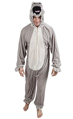 Halloweenia - Herren Motto-Party Karneval Kostüm Plüsch Nilpferd, Onesie, Komplett-Jumpsuit Hippo, One Size, (Kostüm Hippo Kopf)