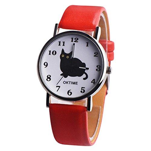 PLOT Damen Quarzuhr Mit Lederarmband | Schön Katzen | Armbanduhren Für Frauen | Geschenke Für Frauen | Einstellbar Uhrenband | Quarzwerk | 20mm Bandbreite | 38mm...