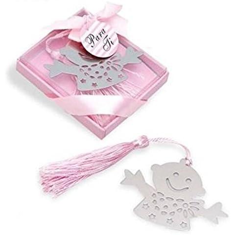 Marcapáginas/ punto de lectura niña con pompón rosa. Pack de 15 unidades.