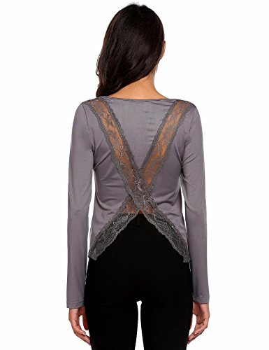 Chigant Damen Langarm Shirt Spitze-Patchwork Bluse Rückenfreie Oberteile mit Schlitz Grau