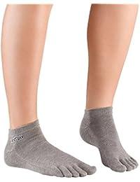 Knitido Track & Trail Ultralite Fresh Seasons   kurze Zehensocken für Sport und Freizeit, geeignet für Zehenschuhe, einfarbig in 7 Farben, für Damen und Herren (unisex), aus Baumwolle (39%) und kühlender Coolmax®-Faser, Größe:43-46;Farbe:Marsala