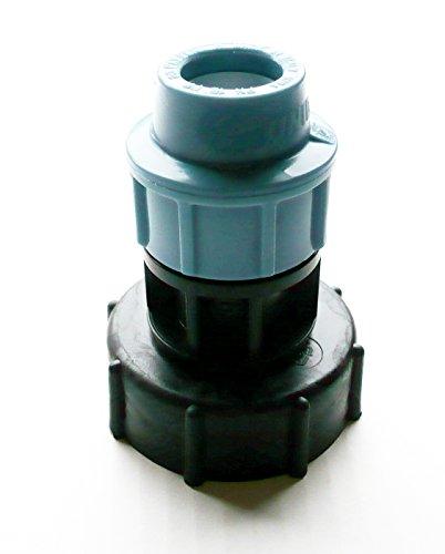 inscale IBC Adaptateur (5,1 cm S60 x 6 filetage épais) à 20 mm droit irrigation mdpe Raccord à compression. Nb couleur peut varier de l'image.