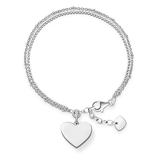 Thomas Sabo Damen-Armband Love Bridge Herz 925 Sterling Silber Länge von 16 bis 19.5 cm LBA0102-001-12-L19,5v