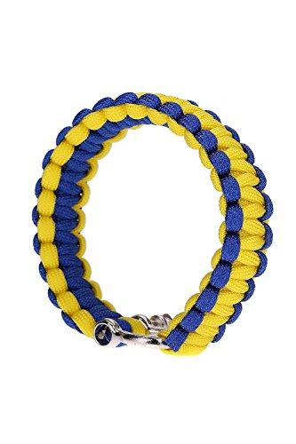 SODIAL (R)Bracelet de Survie avec U Boucle corde de Parachute Paracord exterieure Urgence evasion rapidement-Bleu & jaune