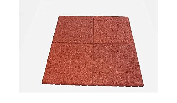 Steckverbinder Qualit/äts Fallschutzmatte 500x500x30mm in Rot aus Gummi-Recyclinggranulat inkl