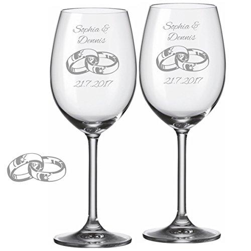 2 Leonardo Weingläser mit personalisierter Gravur Ringe graviert mit Wunschnamen und Datum zur...