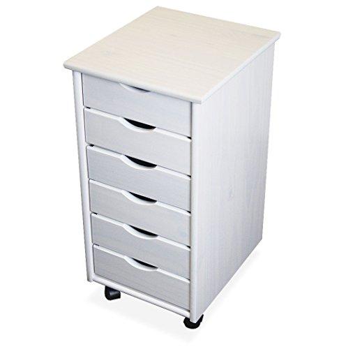 KMH, Rollcontainer / Schubladencontainer mit 6 Schubladen aus massivem Pinienholz (weiss) (#201125)