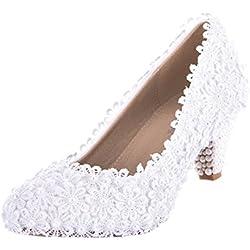 VELCANS Verzierte weiße Blumen Schnüren Mitte Heels Braut, Brautjungfer, Hochzeit und Abschlussball Pumps Schuhe (38, Weiß)