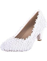 VELCANS Verzierte weiße Blumen Schnüren Mitte Heels Braut, Brautjungfer, Hochzeit und Abschlussball Pumps Schuhe