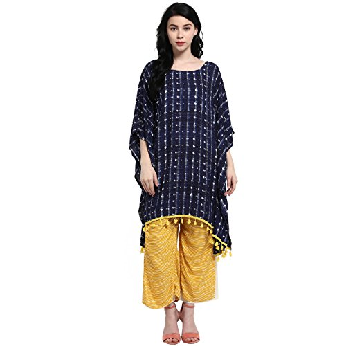 Akkriti by Pantaloons Women's Rayon Kaftan Top_Blue_S/M