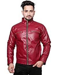 Life Trading Fashionable Faux Leather Jacket for Men and Boys(Mehroon)