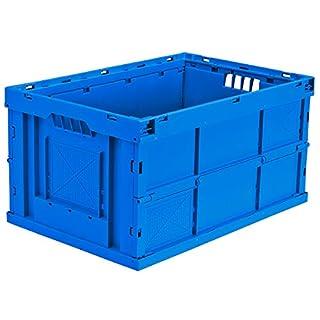 Faltbox aus Polypropylen - Inhalt 63 l, LxBxH 600 x 400 x 320 mm - blau, VE 4 Stk - Box Faltbox Kasten Klappbox Kunststoffbehälter Kunststoffstapelbehälter Stapelbox Stapelkasten aus Kunststoff