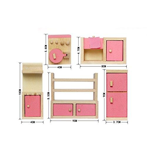 Dolls House mobili Set miniatura Famiglia in legno sala giochi per bambini Toy-Kitchen