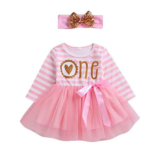 Amphia - Baby Mädchen Prinzessin Tüllrock Tutu Rock Blumenkleid Kleinkind - Baby langärmelige gestreifte Buchstaben Liebeskleid Mesh-Rock + Paillettenschleife Haarband zweiteilig rosa,(6M-24M)