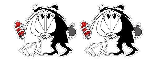 Kult Spione Spy Bombe schwarz-weiss Oldschool Hooligan Cartoon Animation Aufkleber Sticker Decal Autocollants Pegatinas + Gratis Schlüsselringanhänger aus Kokosnuss-Schale + Auto Motorrad Laptop Notebook Koffer Skateboard Snowboard Tuning Racing Motorsport