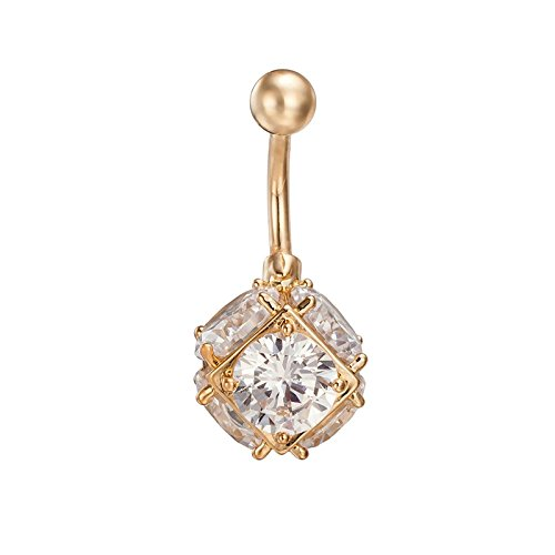 Bishilin Edelstahl Bauchnabelpiercing Quadrat Weiß Zirkonia Ball Nabel-Ring Gold Körper Piercing Schmuck - Traumfänger Nabelring