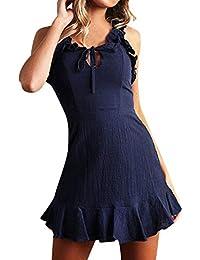 Frauen Kleid Schulterfrei Volant Sommerkleid Abend Figurbetont Dame Clubwear