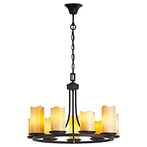 Massive steady old-time chandelier from natural stone on a long