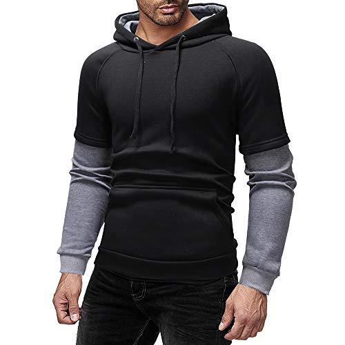DNOQN Männer Jacke Winter Pullover Herren Jacken Online Herbst Winter Mode Lässig Patchwork Kapuze Gefälschte Zwei Sweatshirt Tops