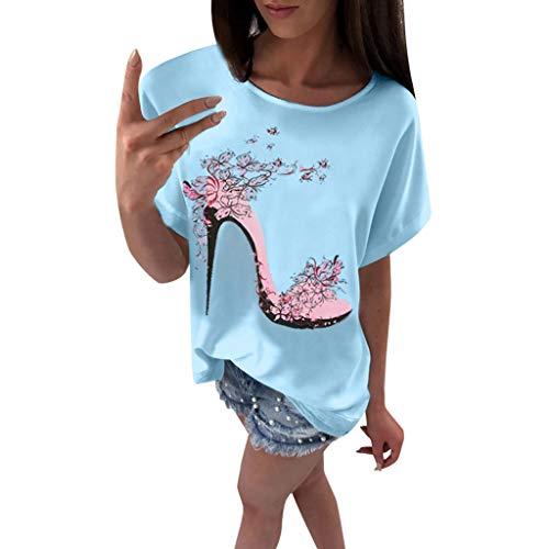 OVERDOSE Frauen Kurzarm Blumen Pumps Gedruckt Tops Strand Beiläufige Lose Bluse Top T-Shirt (EU-38/CN-M, X-d-blau)
