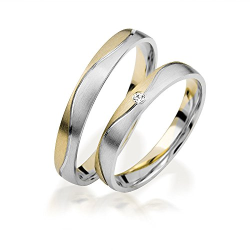 2x 585 Gold Eheringe Partnerringe Trauringe Verlobungsringe Freundschaftsringe *mit Gravur und Stein* C117