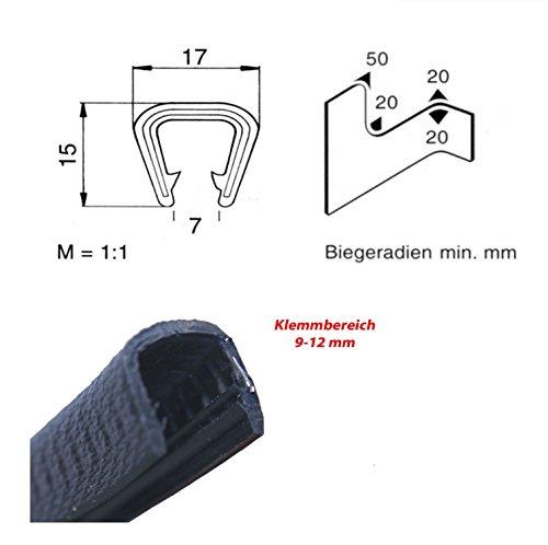 3 m Klemmbereich 8 EUTRAS Kantenschutz 2187 KS1251 Klemmprofil Keder schwarz 10 mm