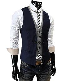 TheLees Herren Stilvoll geschichteten Stil schlanke Weste Taille Mantel Marine XXL(EU 54)