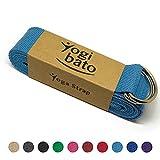 Yogibato Yoga-Gurt   240 x 3,8 cm   100% Baumwolle - stabile Metallringe zur flexiblen Größenverstellung - Yoga-Band - (Himmelblau)