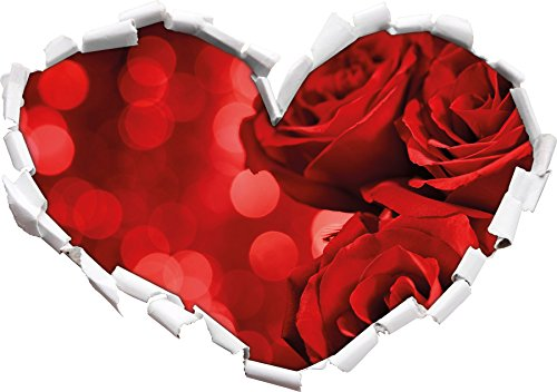 three-red-roses-heart-shape-in-the-3d-look-wall-or-door-sticker-format-92x645cm-wall-stickers-wall-d