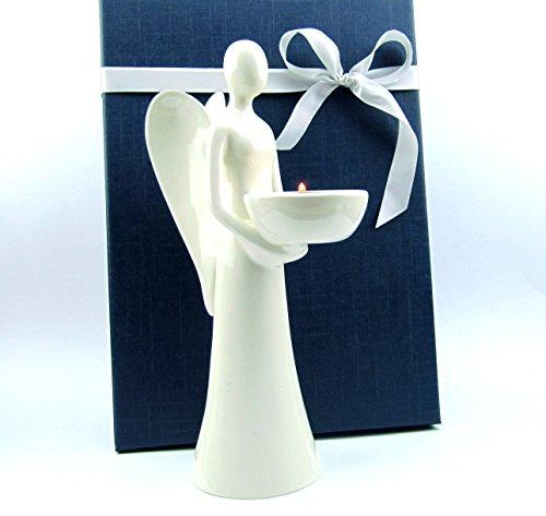 Deko Engel-Figur Weihnachtsengel Porzellan Teelichthalter Geschenkidee zu Weihnachten Geburtstag Hochzeit (Höhe 24 cm)