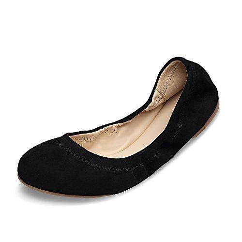 Xielong Chaste Ballett Flach Lammfell Loafers Casual Damen Schuhe Leder Geschlossene Ballerinas Black Suede 8