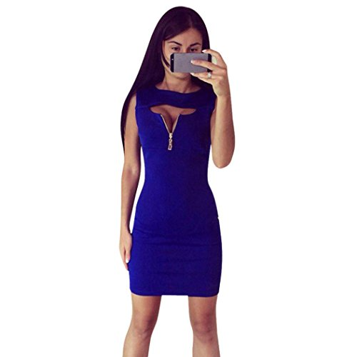 OVERMAL Groupe Femmes Sexy Summer Occasionnel Bodycon Mini Robe Sans Manches Bleu