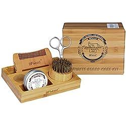 BFWood Kit para el Cuidado de la Barba con Soporte de Bambú para Hombres - Cepillo, Peine, Tijeras y 30g de Bálsamo, para Recortar, Asear, suavizar y Acondicionar la Barba