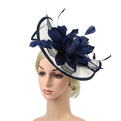 Edel Moulin Rouge Kostüm - Fascinator-Hut Satin-Feder-Hut-Stirnband für die Frauen, die Cocktail-Teeparty-Kopfstück Wedding sind Ballzubehör (Color : Blue, Size : Free Size)