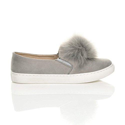 Damen Flach Pom Pom Pelz Plimsolls Mode Trend Sneaker Turnschuhe Größe Hellgrau