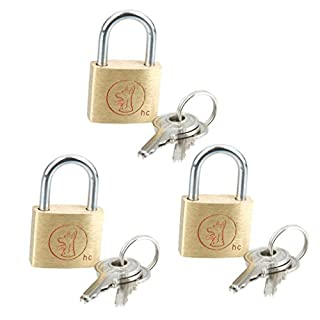 Sharplace 3 Piece Solid Brass Security Key Lock Padlock for School Office Home Drawer Gym Lockers, 3 Keys, 20x31mm, 5.5mm Shacle
