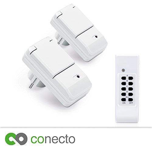 Für eine größere Ansicht klicken Sie auf das Bild conecto Funksteckdosen Komplett Set Starterkit für Außenbereich IP44 (4-Kanal, Selbstlern-Funktion, 2X Outdoor Funksteckdose, 1x Fernbedienung) weiß